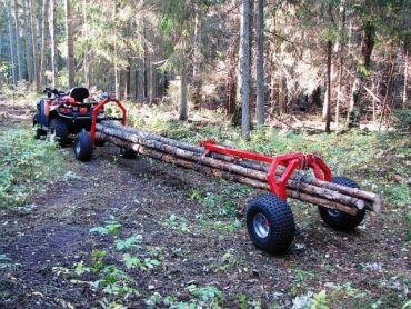 ATV Baumstammtransporter mit Heckstütze und elektrischer Seilwinde