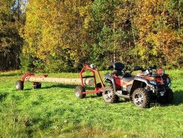ATV Baumstammtransporter mit Heckstütze und handbetriebener Seilwinde